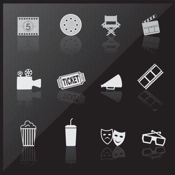 Cinema icons over black background vector illustration