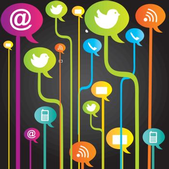 Communication icons over black background vector illustration
