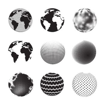 different ways to represent the earth over white background