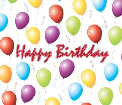 Happy birthday card with balloon over white background vector illustration
