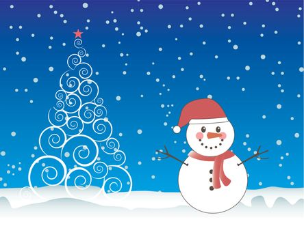 Merry Christmas card with snowman over sky and tree background