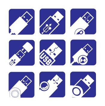 usb icons over white and blue background vector illustration