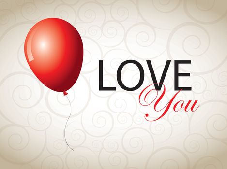 love card with a balloon over white background