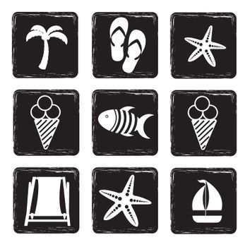 Vacation icons over white and black background