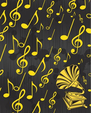 gramophone musical over yellow notes background. Vector illustration
