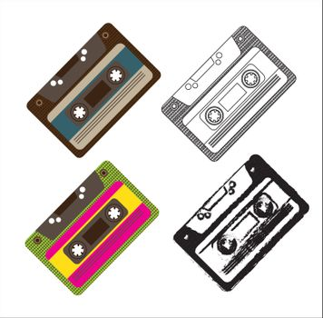 vintage group of cassettes over white background