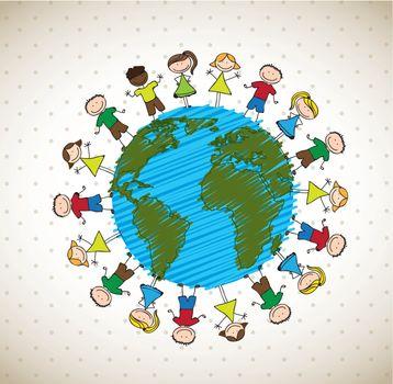 many happy children around the world vector illustration