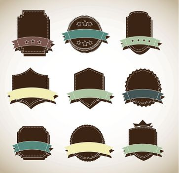 brown label with space to indicate promotions vector illustration
