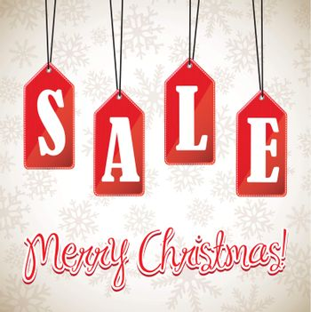 sign hanging sales christmas over white background