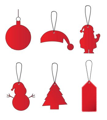 set of decorative Christmas elements for tree Tags christmas