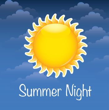 summer night with big sun over sky background