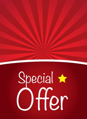 Special offer over red background with a star