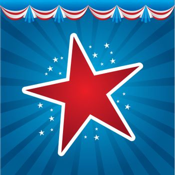 American stars over blue background vector illustration