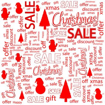 Christmas sales background with tree, Santa Claus and snowmen