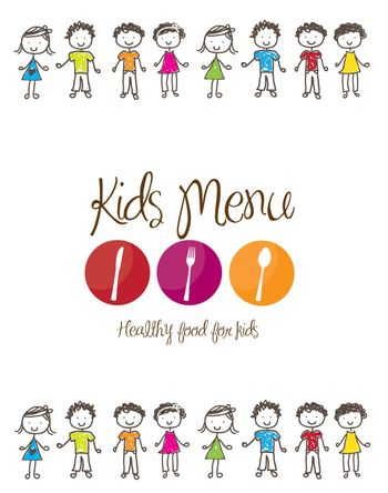 banner of Kids menu with cutlery and children  over white background
