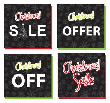 different labels of Christmas sales and offer vector illustration