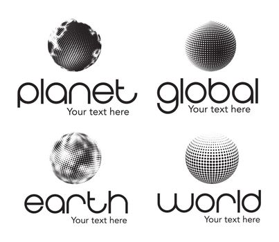 Planet, earth, world and global icons  over white background
