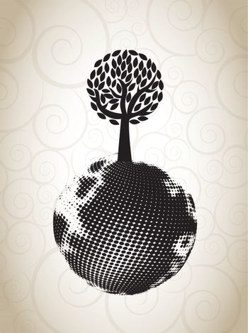 ecological symbol with a tree on the world  vector illustration