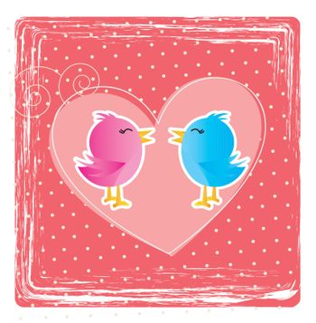 Love card with a couple of birds over pink background