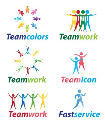 Teamwork icons with people in signal of unity vector illustration