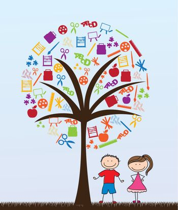 pair of children with school supplies tree vector illustration