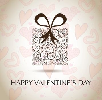 Valentinees day gift over hearts background vector illustration