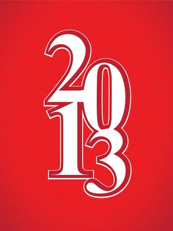 new year 2013 over red background vector illustration