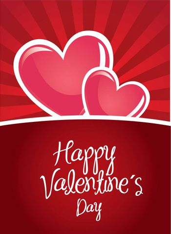Happy valentines day card over red background