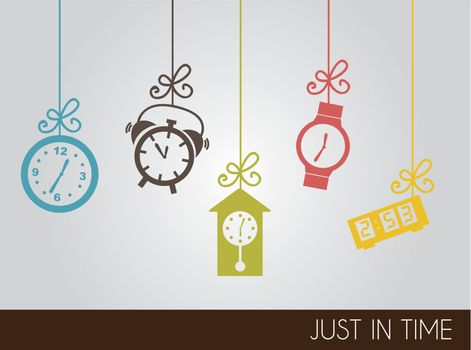 VIntage clock icons over gray background vector illustration