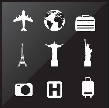travel icons over black background vector illustration