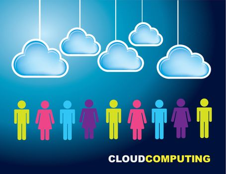 Business people with cloud over blue background