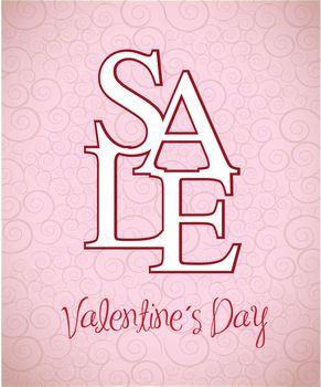 Valentines day sale over pink background vector illustration