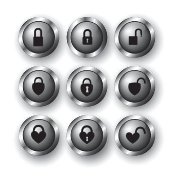 collections of locks as buttons over white background