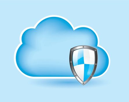 Security icons over cloud background vector illustration