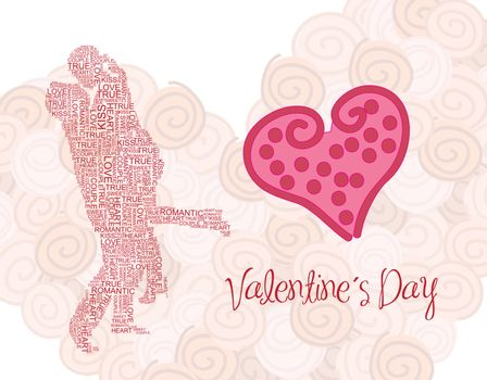 Valentines day card with a kissing couple vector illustration