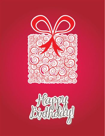Happy birthday card over  red background vector illustration
