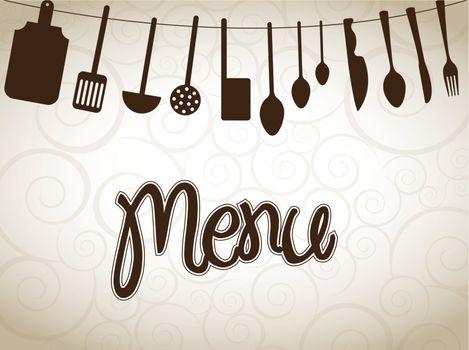 cookware over vintage background vector illustration