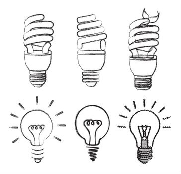 differents bulbs over white background vector illustration