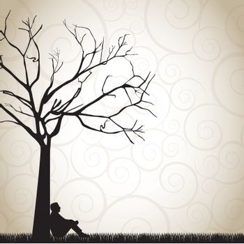 silhouette of a pensive man under a tree vector illustration