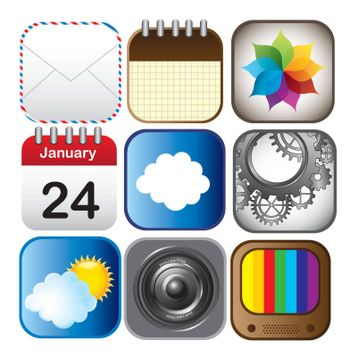 technological application icons over white background vector illustration