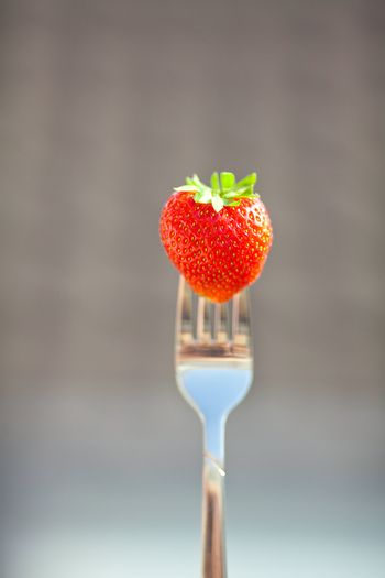 strawberry on a fork in the daylight