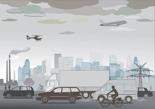 Traffic jam and smog