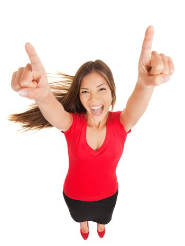 Successful woman cheering in jubilation