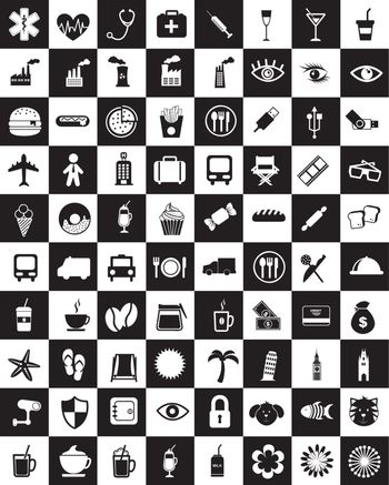 silhouettes of different icons over white background