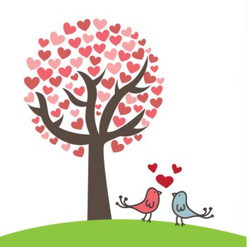 Love card with two birds and hearts over white background