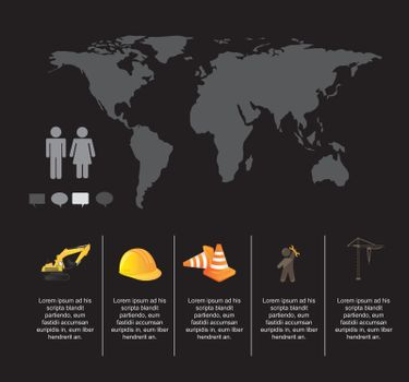 Infographic of under construction over black background