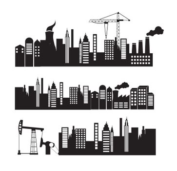 City and industry over white background vector illustration
