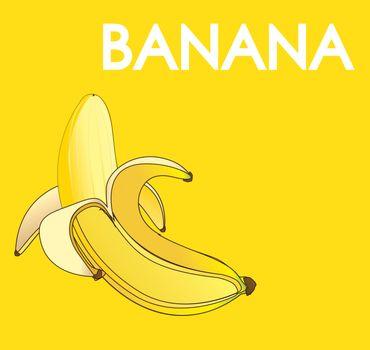 Banana fruit over yellow background vector illustration