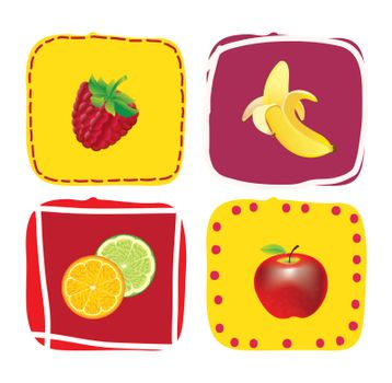 Different Fruits over colors square vector illustration