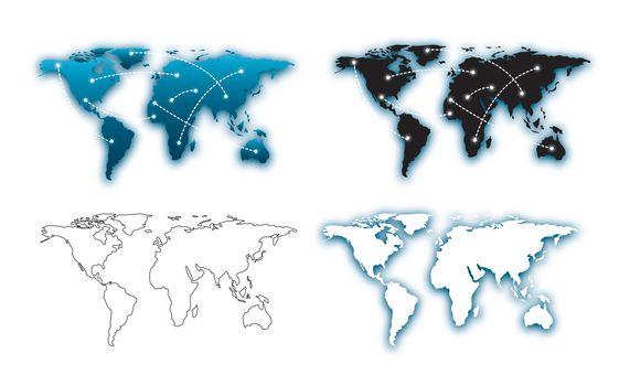 set of maps over white background vector illustration